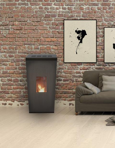 po le pellets city design avec rev tement en acier noir 8 kw. Black Bedroom Furniture Sets. Home Design Ideas